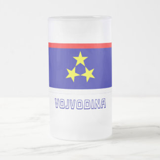 Vojvodina Flag with Name 16 Oz Frosted Glass Beer Mug