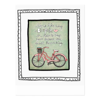 vol25- life is like riding a bicyle postcard