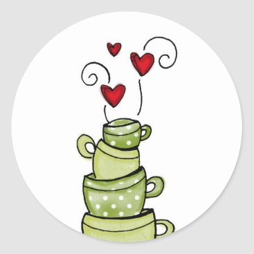 Coffee Themed vol25- stacked to perfection classic round sticker