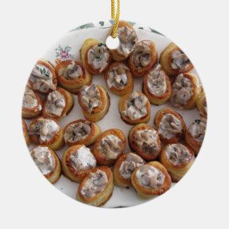 Vol au vents filled with chopped mushrooms ceramic ornament