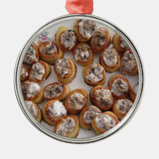 Vol au vents filled with chopped mushrooms metal ornament