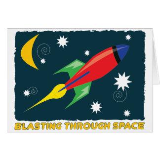 Voladura a través de espacio tarjeta de felicitación