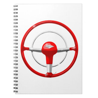 Volante 1955 rojo de Chevy Cuadernos