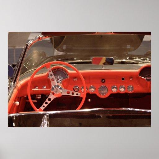 Volante 1956 y rociada de Chevrolet Corvette Póster
