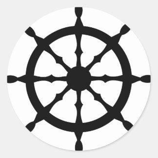 volante de la nave del capitán pegatinas redondas
