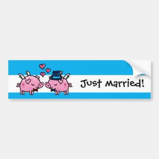 Volar cerdos prepara apenas matrimonio homosexual pegatina para auto