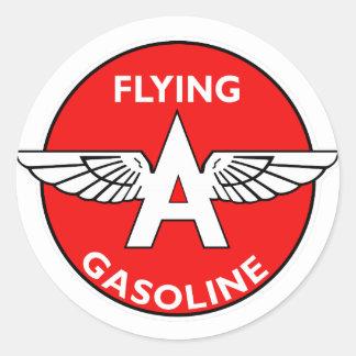 Volar una versión plana de la gasolina pegatina redonda
