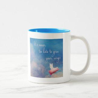 volarlo cerdo-nunca es demasiado atrasado crecer taza de café de dos colores