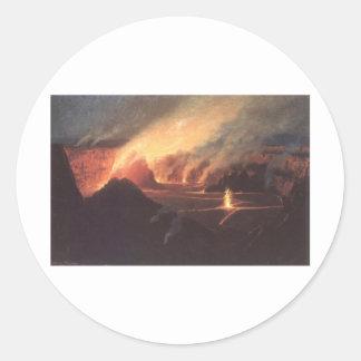 Volcán, 1880s Hawaii del CA Etiquetas Redondas