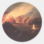 Volcán, 1880s Hawaii del CA Pegatina Redonda