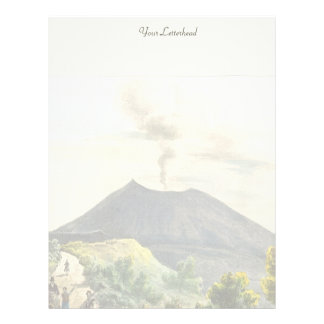 Volcán activo de Vesuvio Nápoles 1832 Italia Membrete A Diseño