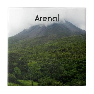 Volcán de Arenal Azulejo Cuadrado Pequeño