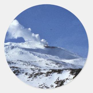 Volcán de Kiska, punto de Sirius, isla de Kiska, Pegatina Redonda
