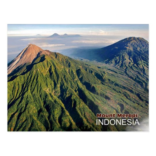 Volcán del monte Merapi en Indonesia Tarjeta Postal