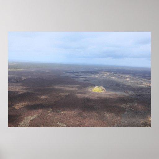 volcán grande de la isla del cráter del kilauea impresiones