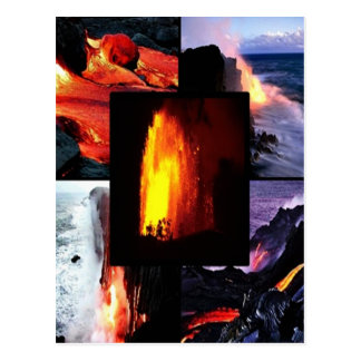Volcán hawaiano de la lava tarjeta postal