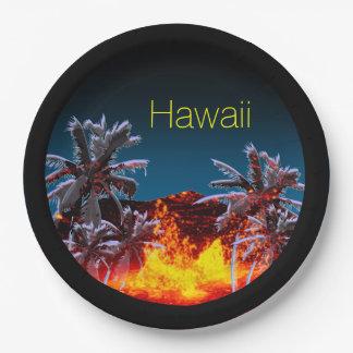 Volcanes de Hawaii Plato De Papel De 9 Pulgadas