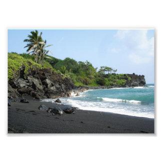Volcanic black sand beach on Hawaii Photo Print