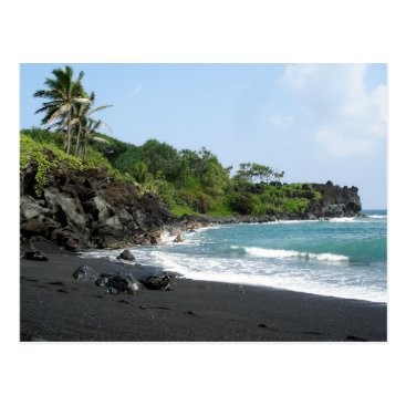 Beach Themed Volcanic black sand beach on Hawaii postcard
