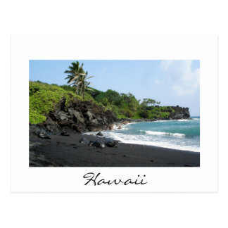 Volcanic black sand beach on Hawaii white postcard