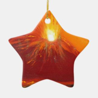 Volcanic eruption ceramic ornament
