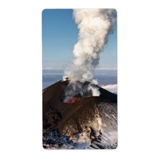 Volcanic eruption: lava, gas, steam, ashes label
