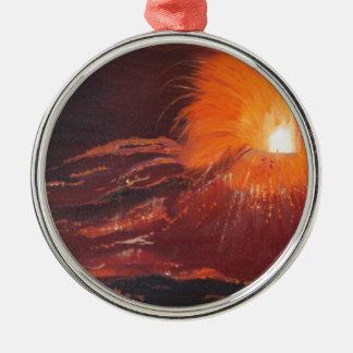 Volcanic eruption metal ornament