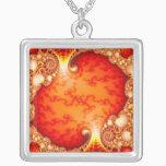 Volcanic Garden - Fractal art Silver Plated Necklace