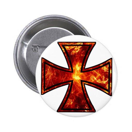 Volcanic Iron Cross Pinback Button