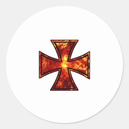 Volcanic Iron Cross Classic Round Sticker