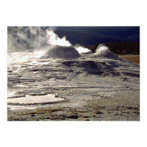 Volcanic land, Upper Geyser Basin, Yellowstone Nat 5x7 Paper Invitation Card