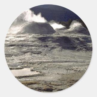 Volcanic land, Upper Geyser Basin, Yellowstone Nat Round Sticker
