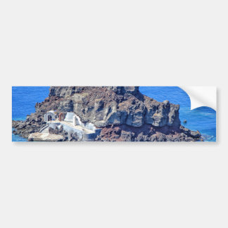 Volcanic rock in the sea in Santorin Greece Bumper Sticker