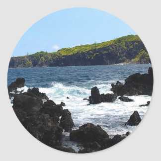 Volcanic rocks on coast of Maui Classic Round Sticker