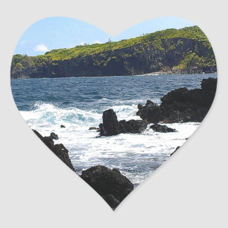 Volcanic rocks on coast of Maui Heart Sticker