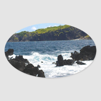 Volcanic rocks on coast of Maui Oval Sticker