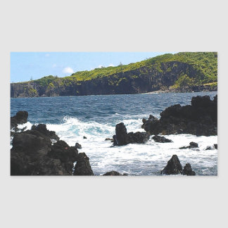 Volcanic rocks on coast of Maui Rectangular Sticker