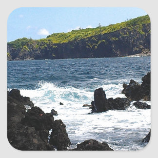 Volcanic rocks on coast of Maui Square Sticker