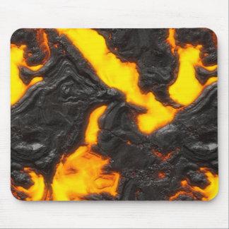 Volcánico anaranjado amarillo del flujo de lava y alfombrilla de ratones