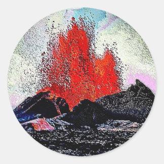 Volcano 7 enamel classic round sticker