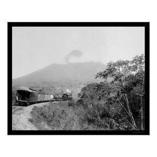 Volcano and Train in Guatemala 1899 Posters