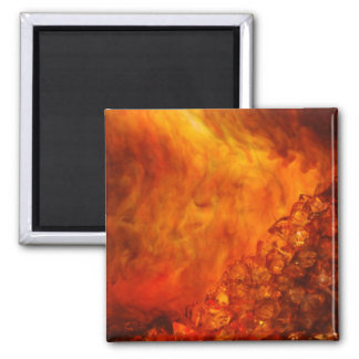 """Volcano"" collection original Lyrical Abstraction 2 Inch Square Magnet"