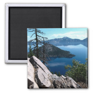 Volcano Deep Blue Crater Lake Oregon USA 2 Inch Square Magnet