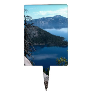 Volcano Deep Blue Crater Lake Oregon USA Cake Topper
