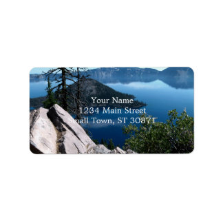 Volcano Deep Blue Crater Lake Oregon USA Label