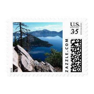 Volcano Deep Blue Crater Lake Oregon USA Stamp
