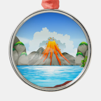 Volcano eruption at the lake metal ornament