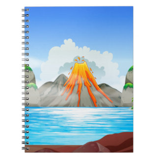 Volcano eruption at the lake notebook