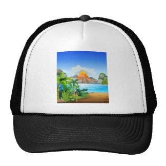 Volcano eruption behind the lake trucker hat
