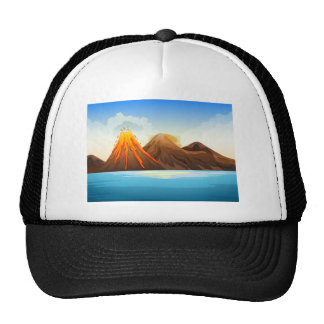 Volcano eruption by the lake trucker hat